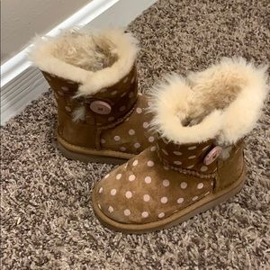 UGG Bailey button polka dot kids boots